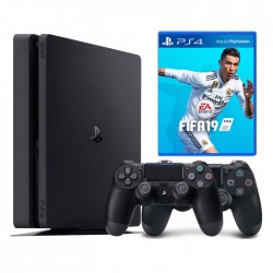 PlayStation 4 Slim (1TB) + FIFA19 + 2 Контролера