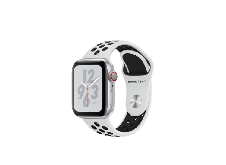 Apple Watch Series 4 Nike+ 40mm GPS+LTE Silver Aluminum Case with Pure Platinum/Black Nike Sport Band (MTV92)