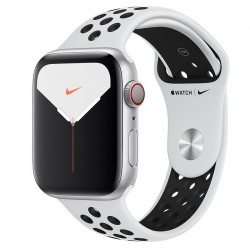 Apple Watch Series 5 Nike+ 44mm GPS + LTE Silver Aluminum Case with Pure Platinum/Black Nike Sport Band (MX392)