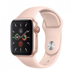 Apple Watch Series 5 GPS + LTE, 40mm Gold Aluminum Case with Pink Sand Sport Band (MWWP2)