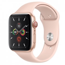 Apple Watch Series 5 GPS + LTE, 44mm Gold Aluminum Case with Pink Sand Sport Band (MWW02)