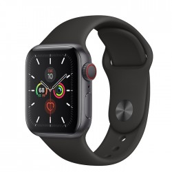 Apple Watch Series 5 GPS + LTE, 40mm Space Gray Aluminum Case with Black Sport Band (MWWQ2)