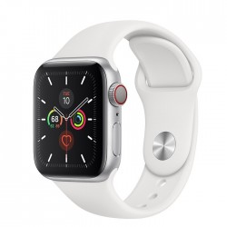 Apple Watch Series 5 GPS + LTE, 40mm Silver Aluminum Case with White Sport Band (MWWN2)