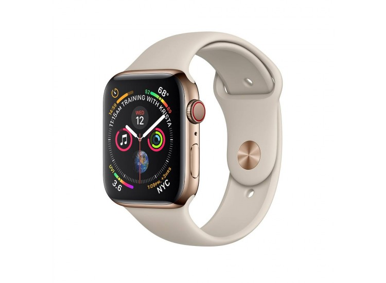 Apple Watch Series 4 44mm GPS+LTE Gold Stainless Steel Case with Stone Sport Band (MTV72/MTX42)