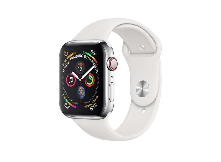 Apple Watch Series 4 44mm GPS+LTE Stainless Steel Case with White Sport Band (MTV22)