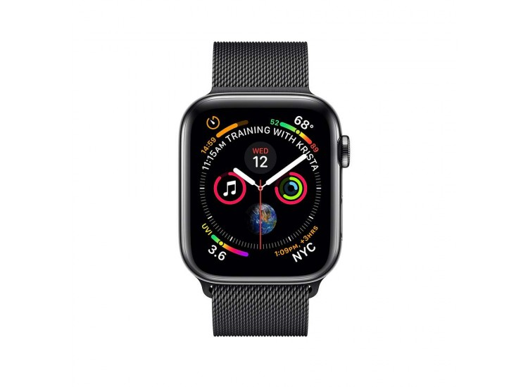Apple Watch Series 4 44mm GPS+LTE Space Black Stainless Steel Case with Space Black Milanese Loop (MTV62)