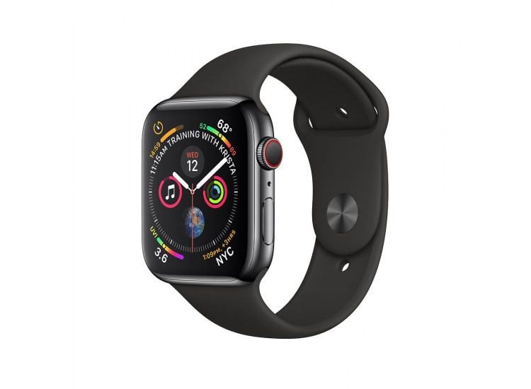Apple Watch Series 4 40mm GPS+LTE Space Black Stainless Steel Case with Black Sport Band (MTVL2)