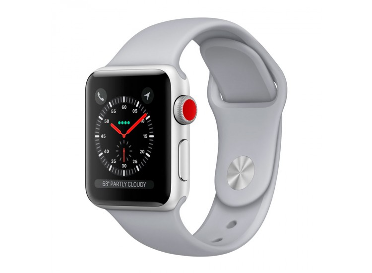 Apple Watch Series 3 38mm GPS+LTE Silver Aluminum Case with Fog Sport Band (MQJN2)
