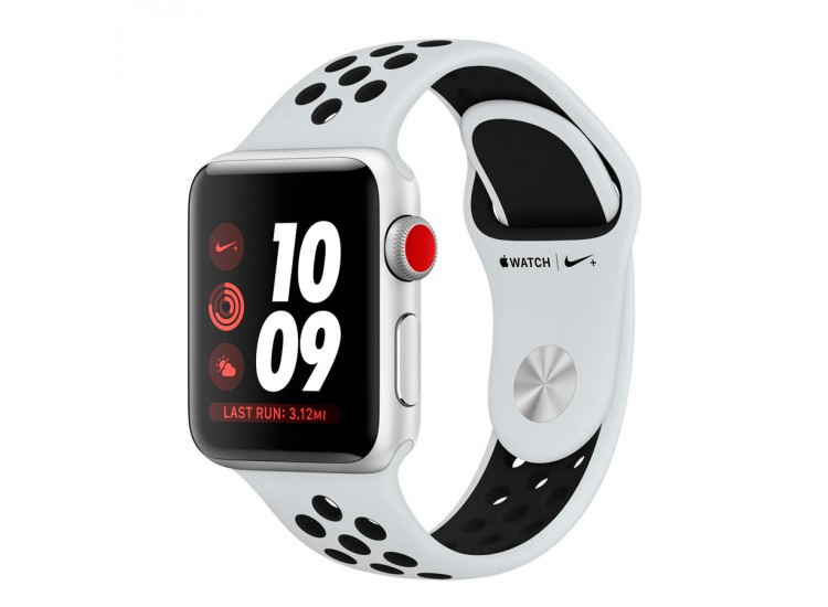 Apple Watch Series 3 Nike+ 38mm GPS+LTE Silver Aluminum Case with Pure Platinum/Black Nike Sport Band (MQL52)