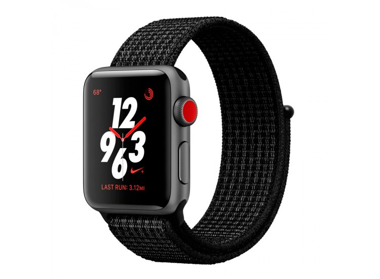 Apple Watch Series 3 Nike+ 38mm GPS+LTE Space Gray Aluminum Case with Black/Pure Platinum Nike Sport Loop (MQL82)