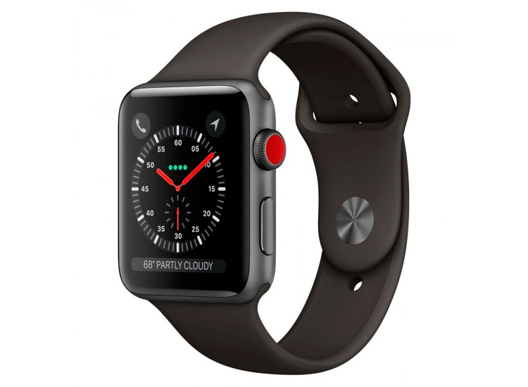 Apple Watch Series 3 42mm GPS+LTE Space Gray Aluminum Case with Gray Sport Band (MR2X2)
