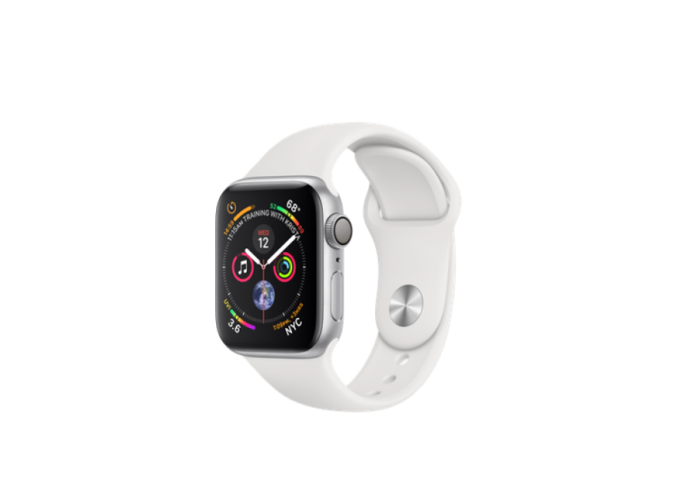 Apple Watch Series 4 40mm Silver Aluminium Case with White Sport Band (MU642)