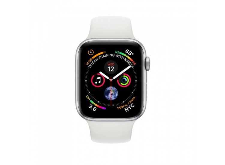 Apple Watch Series 4 44mm GPS+LTE Silver Aluminum Case with White Sport Band (MTUU2)