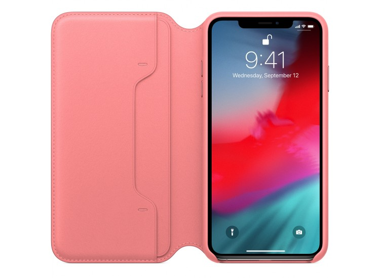 iPhone XS Max Leather Folio - Peony Pink